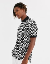 Carrots Block polo with repeat print in black