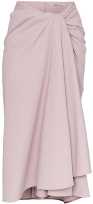 Samuel Guì Yang Towel Effect Draped Midi Skirt