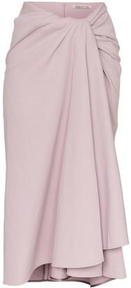 Samuel Gui Yang towel effect draped midi skirt