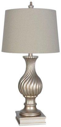 Lamps Per Se Antique Silver Polyresin Table Lamp Set of 2