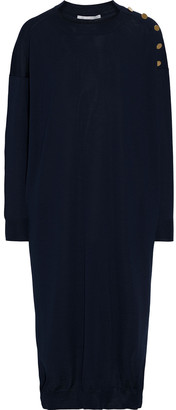 Stella McCartney Button-embellished Wool And Silk-blend Midi Dress