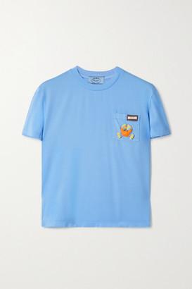Prada Appliqued Cotton-jersey T-shirt - Light blue