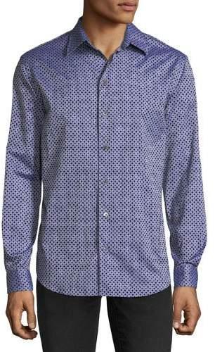 Emporio Armani Men's Diamond-Pattern Flocked Long-Sleeve Woven Shirt