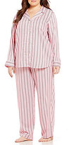 Lauren Ralph Lauren Plus Striped Sateen Classic Pajamas