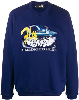 Love Moschino Airlines print relaxed-fit sweatshirt