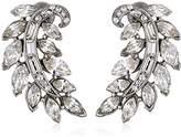 Ben-Amun Jewelry Rhodium-Plated Crystal Feather Stud Earrings