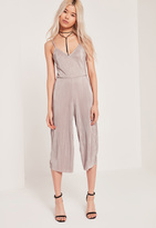 Missguided Petite Exclusive Pleated Culotte Romper Nude