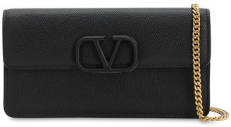 Valentino VRING GRAINED LEATHER CHAIN WALLET