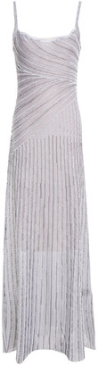 Just Cavalli Striped Metallic Crochet-knit Maxi Slip Dress