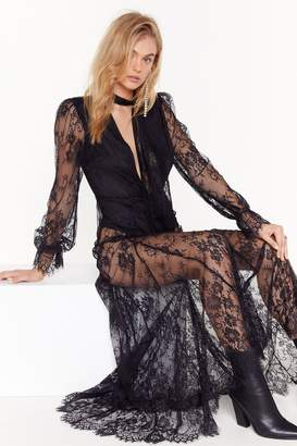 Nasty Gal Womens Pink Silk and Coffee Lace Maxi Dress - black - 6