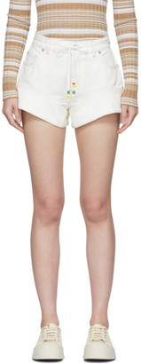 J.W.Anderson Off-White Denim Flared Cuff Shorts