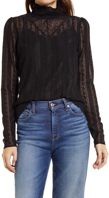 Halogen Lace Knit Mock Neck Top