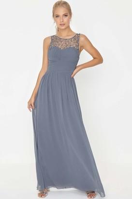 Little Mistress Grace Grey Embellished Neck Maxi Dress