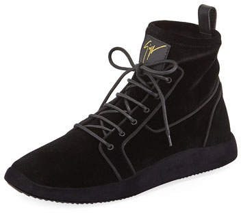 Giuseppe Zanotti Men's Land High-Top Velvet Sneakers