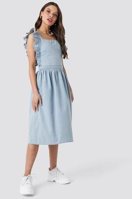 NA-KD Ruffle Denim Pinafore Dress Blue