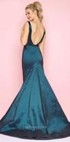 Mac Duggal Taffeta Plunging Open Back Mermaid Prom Dress