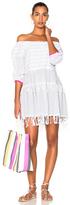 Lemlem Anan Mini Dress in Gray,Stripes,White.