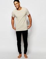 Asos Loungewear Muscle T-shirt In Oatmeal Waffle Linen Fabric