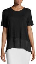BCBGMAXAZRIA Short-Sleeve Chiffon-Hem Top, Black
