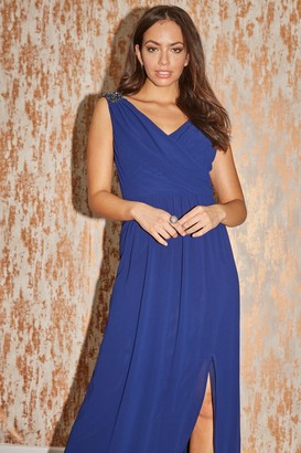 Little Mistress Bridesmaid Alessandra Navy Jewel Strap Maxi Dress