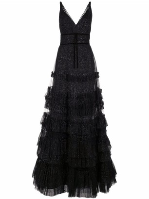 Marchesa Notte Ruffle Tiered Glitter Texture Gown