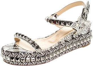 Christian Louboutin Black/White Studded Leather Cataclou Espadrille Wedge Sandals Size 37