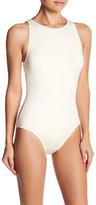 Carmen Marc Valvo Back Cutout High Neck One-Piece Swimsuit