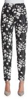 Donna Karan Floral-Print Slim-Fit Ankle Pants, Black/Ivory