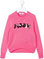 MSGM Kids sequined logo jumper