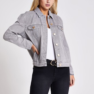 River Island Womens Light Grey oversized denim jacket