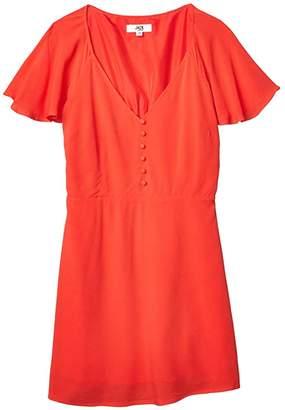 BB Dakota Rayon Crepe Button Front Dress with Back Smocking (Coral) Women's Dress