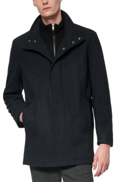 Andrew Marc Men's Coyle Melton Wool Car Coat with Inset Knit Bib