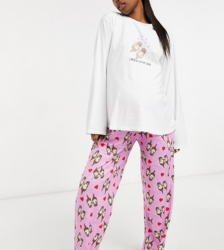 Loungeable Maternity Valentine otter print long sleeve T-shirt and pants pajama set in gray
