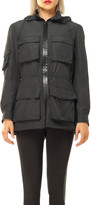 Max Studio Nylon Zip Front Cargo Jacket