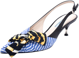 Prada Multicolor Fabric And Leather Bow Pointed Toe Slingback Sandals Size 38.5