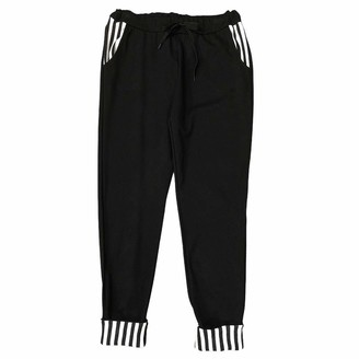 Generico Women's Trousers Milan Stitch with Striped Inserts Oversized Elastic Waist Straight Leg One Size Curvy Made in Italy Gift Idea - Black - One size