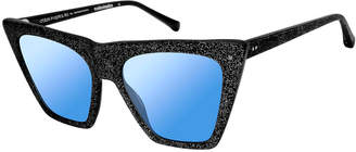 Colors In Optics Metropolitan Glittered Cat-Eye Sunglasses, Black Sparkle
