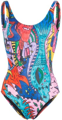 Ellie Rassia Lets Dance printed swimsuit