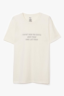 Nasty Gal Womens Friday Feelings Graphic Tee - Beige - L, Beige