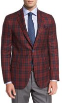 Isaia Tartan Plaid Super 140s Two-Button Sport Coat, Red/Navy