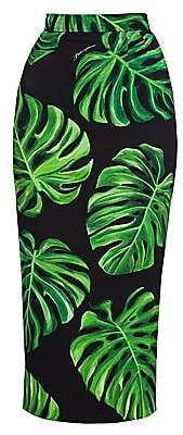 Dolce & Gabbana Women's Tropical Leaf-Print Charmeuse Midi Pencil Skirt