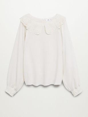 MANGO Oversized Collar Blouse - White