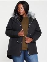V By Very Curve Faux Fur Parka Coat - Black