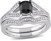 Julie Leah 1 2/9 CT TW Black and White Diamond 10K White Gold Bridal Set