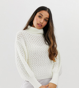 ASOS DESIGN Petite stitch detail roll neck jumper