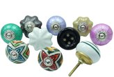 Ibacrafts Lot Of 10 Pcs Hand Painted Ceramic Knob Pulls Multicolor Unique Cabinet Knobs