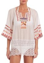 Pia Pauro Lace-Detail Embroidered Cotton & Silk Tunic