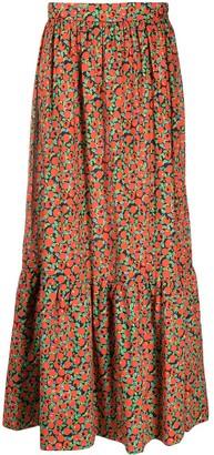 L'Autre Chose Floral Print Maxi Skirt