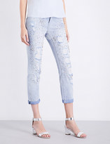 True Religion Ladies New City Embellished Glamour Slim-Fit High-Rise Jeans