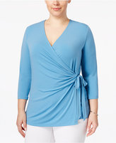 Charter Club Plus Size Faux-Wrap Top, Only at Macy's